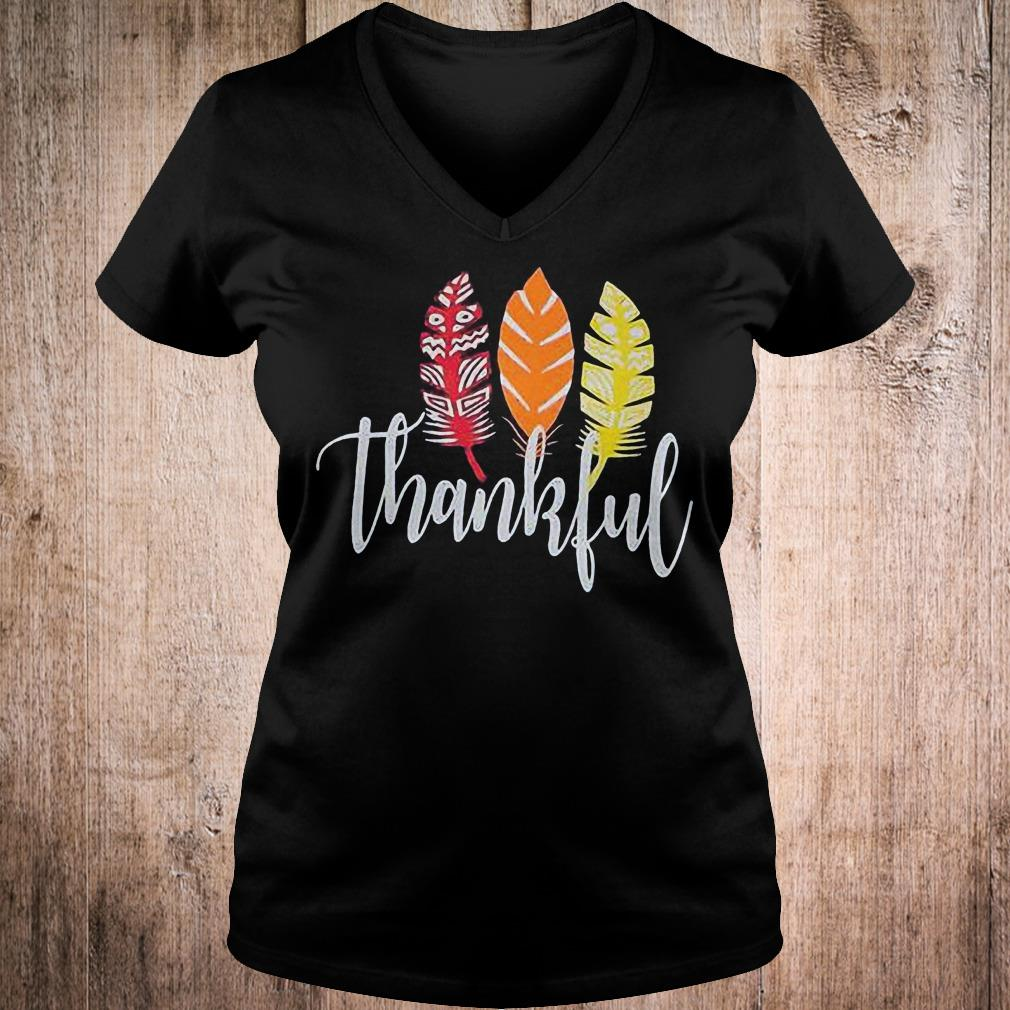 Thankful feather shirt Ladies V-Neck