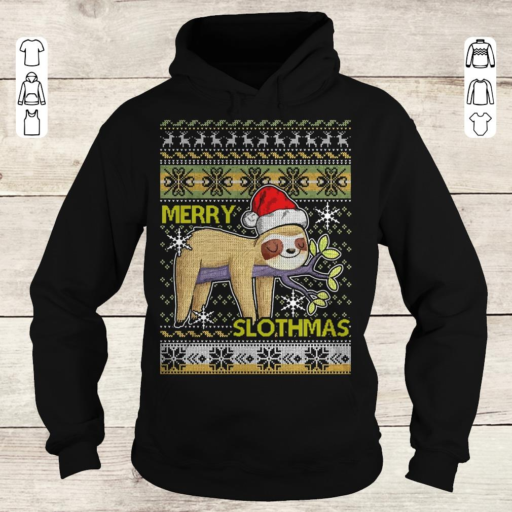 Awesome Merry Slothmas sweater shirt Hoodie