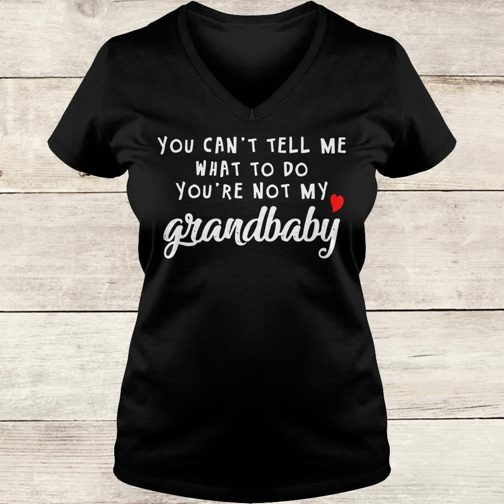 Awesome You can't tell me what to do you're not my grandbaby shirt Ladies V-Neck