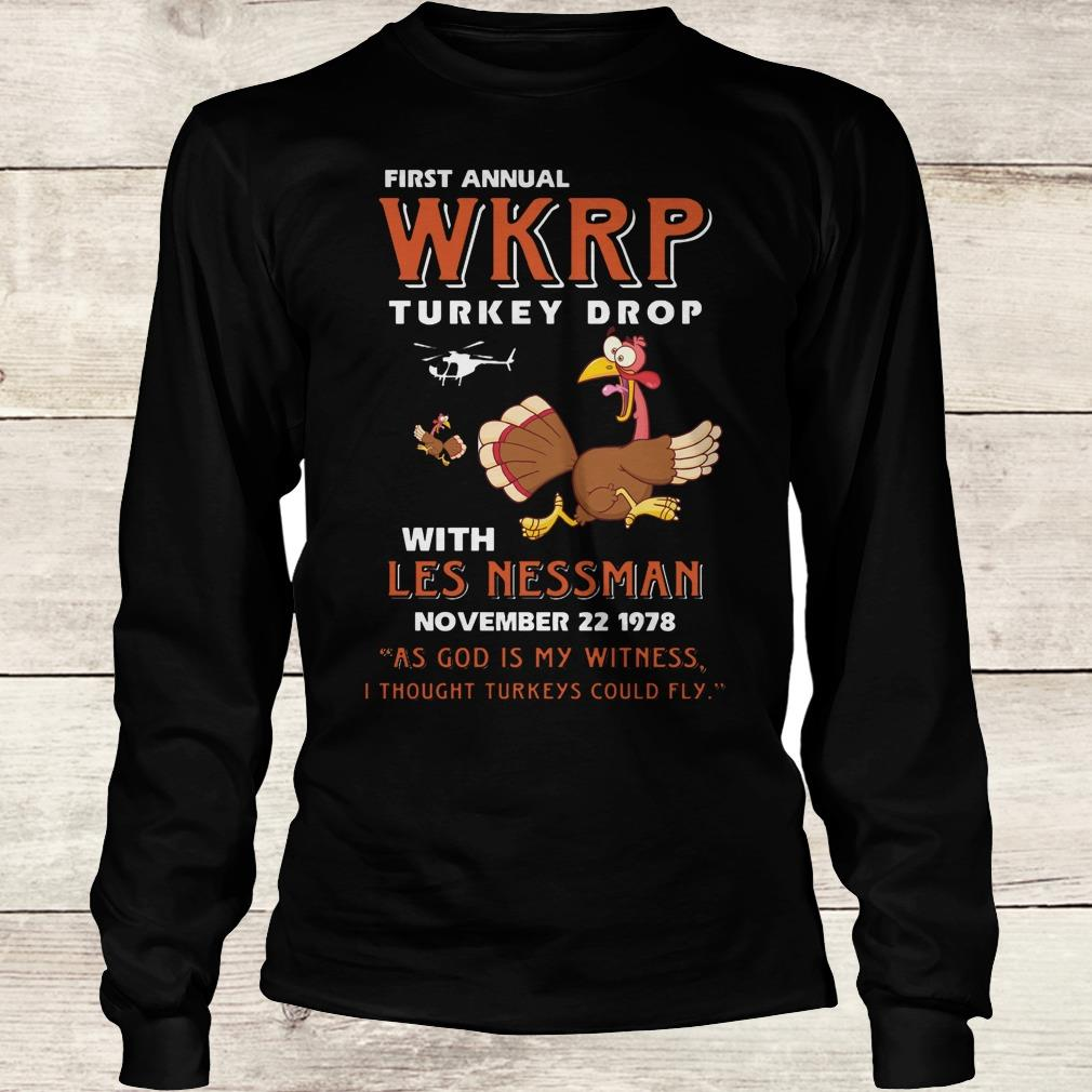 Best price First Annual WKRP Turkey drop with les nessman shirt Longsleeve Tee Unisex