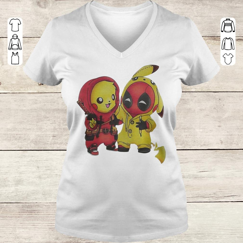 Funny Pokemon Pikachu and Deadpool shirt Ladies V-Neck