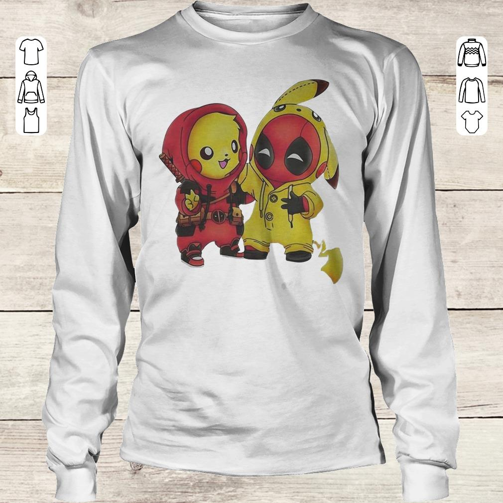 Funny Pokemon Pikachu and Deadpool shirt Longsleeve Tee Unisex