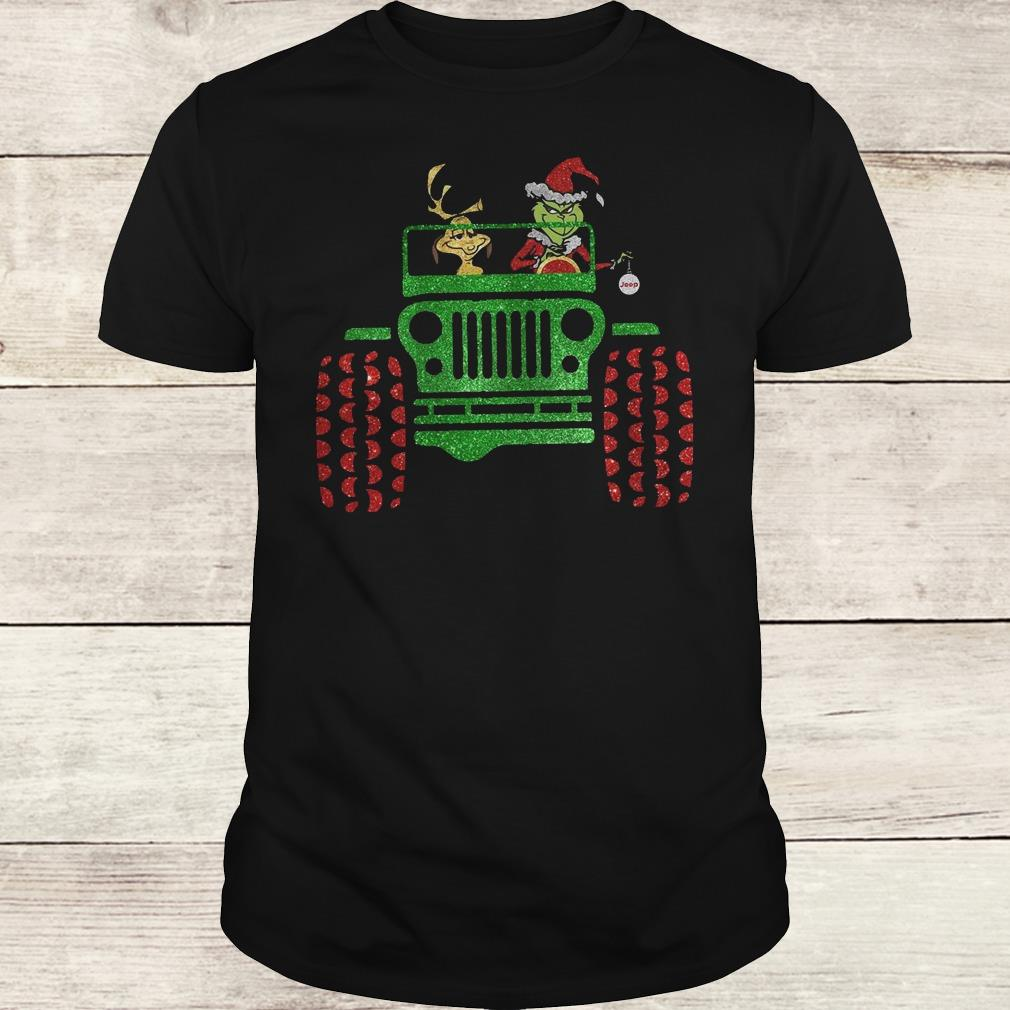 Hot Grinch and his dog on Jeep shirt Classic Guys / Unisex Tee