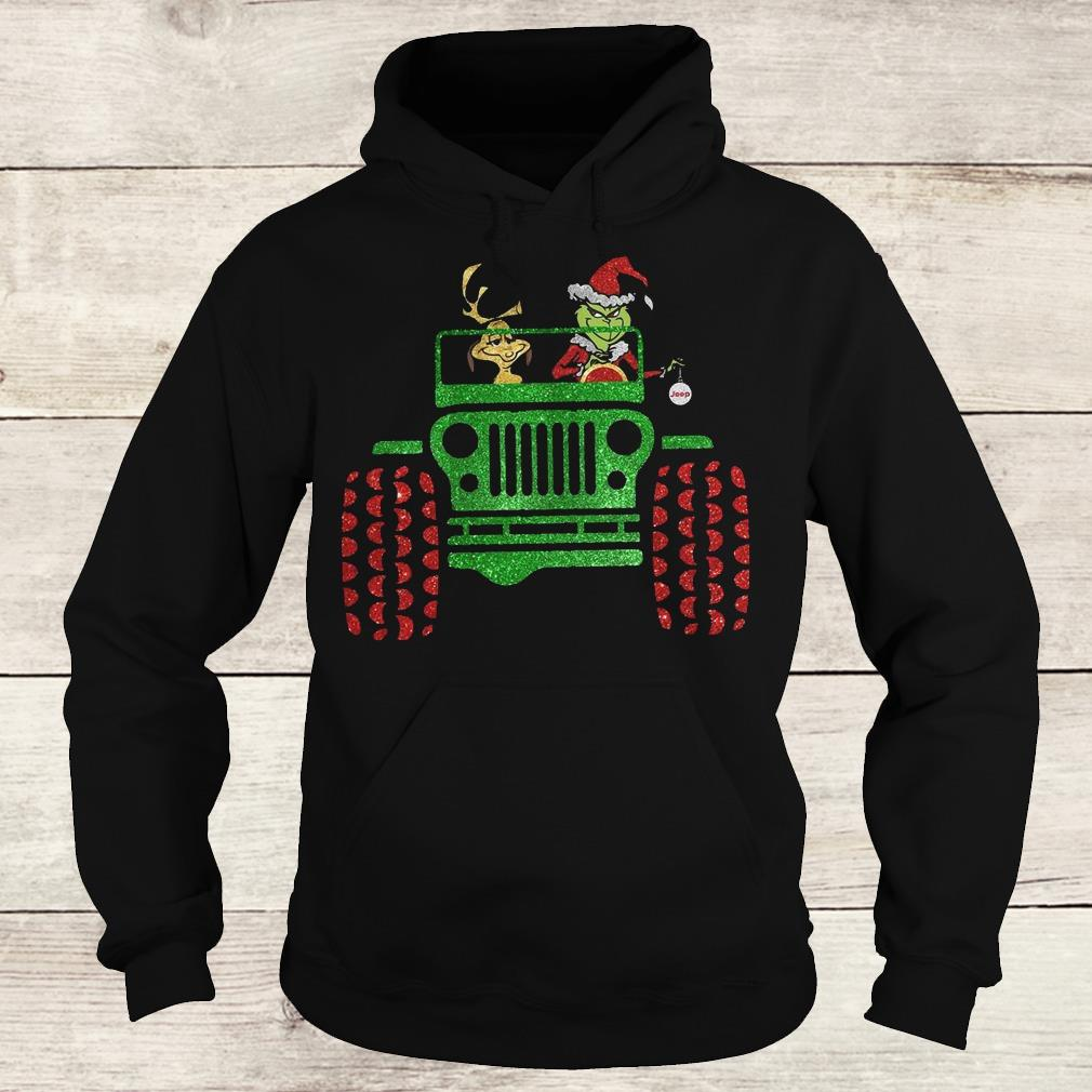 Hot Grinch and his dog on Jeep shirt Hoodie