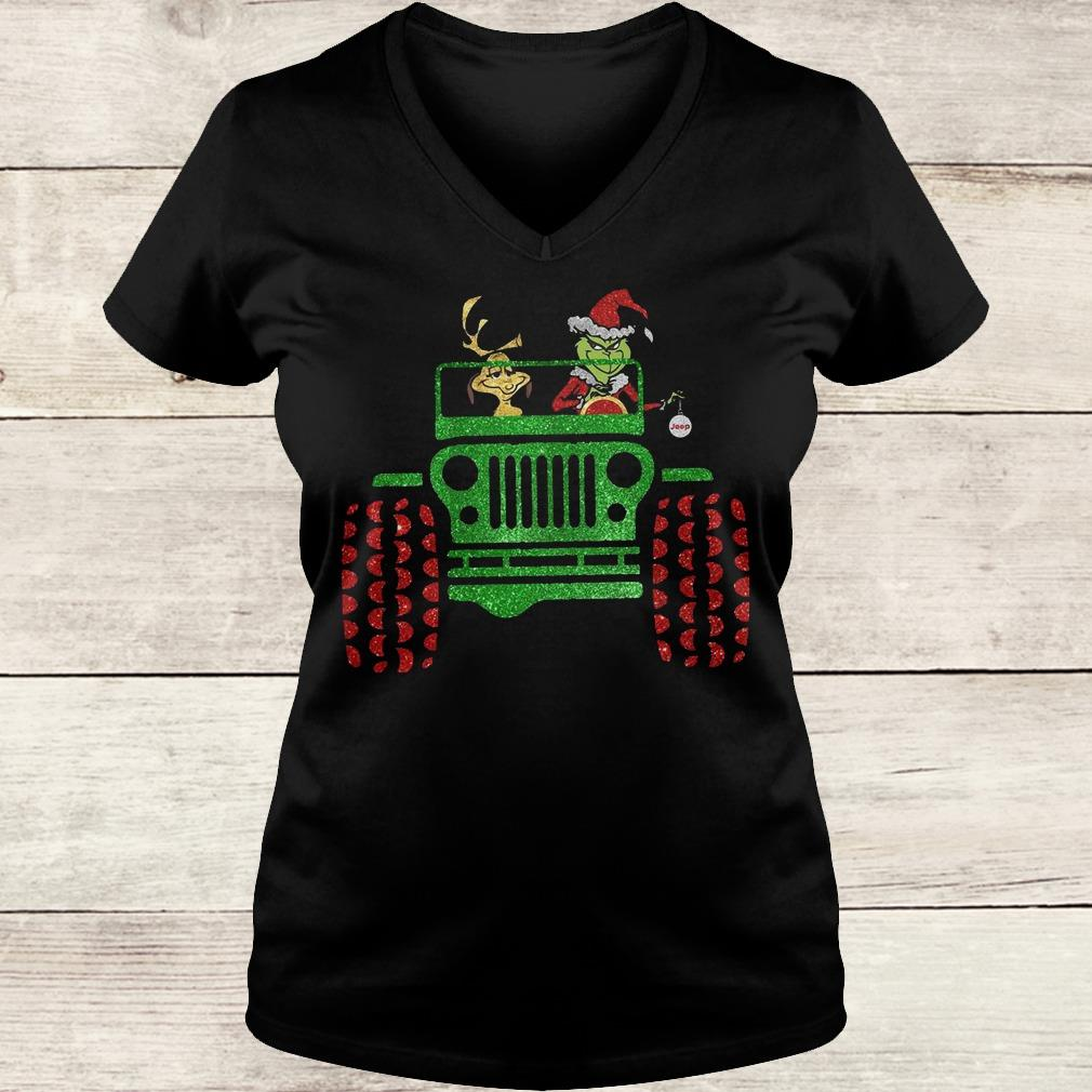 Hot Grinch and his dog on Jeep shirt Ladies V-Neck