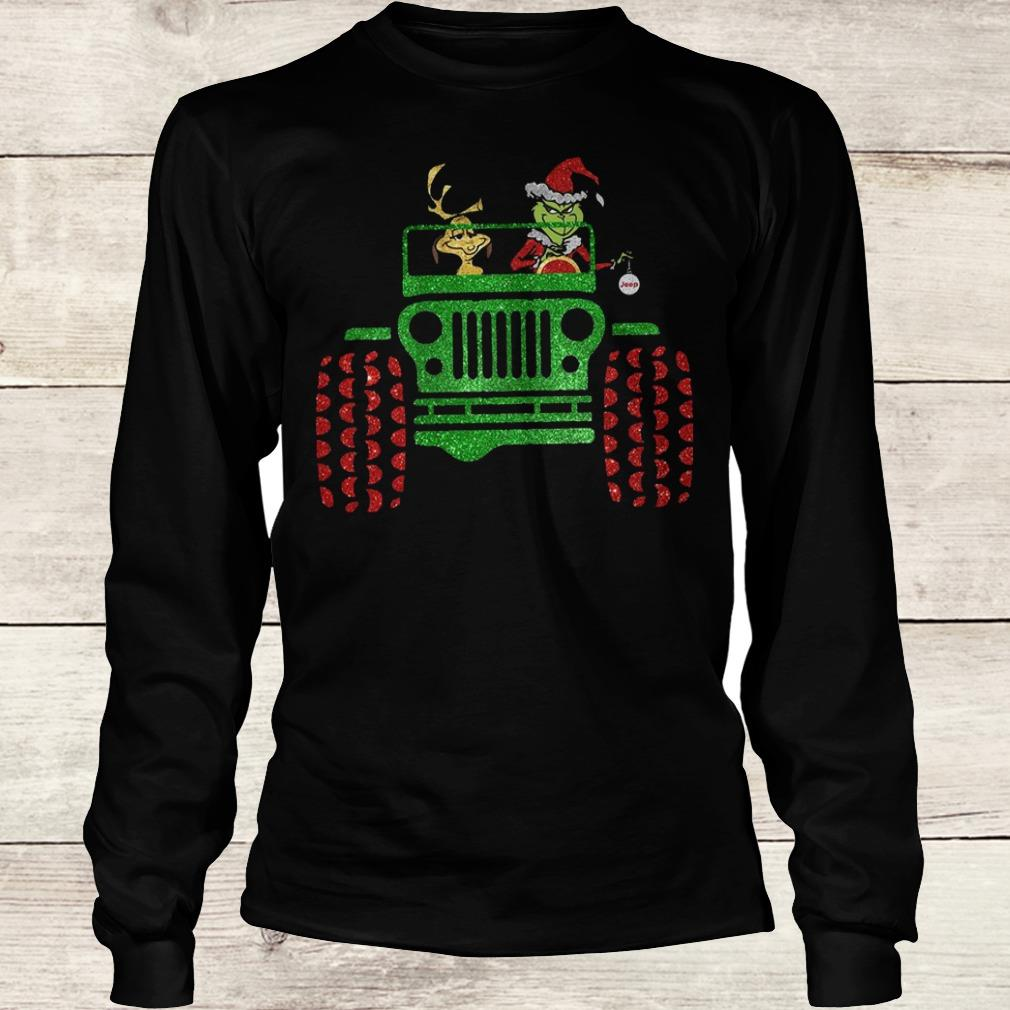 Hot Grinch and his dog on Jeep shirt Longsleeve Tee Unisex