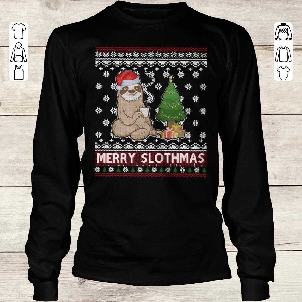Hot Merry Slothmas sweater shirt Longsleeve Tee Unisex