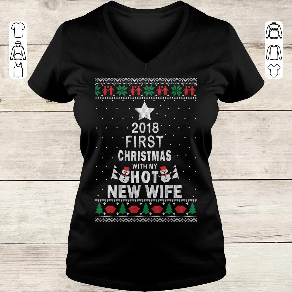 Original 2018 first christmas with my hot new wife shirt Ladies V-Neck
