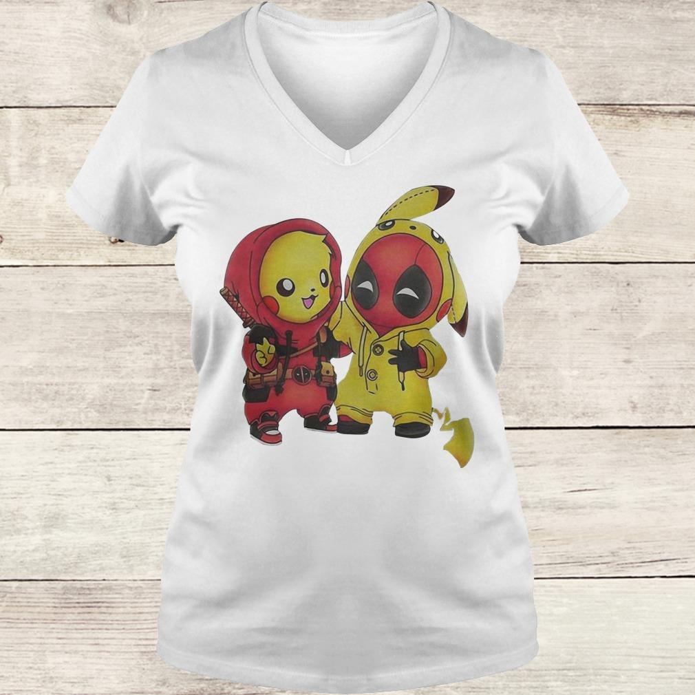 Original Pikachu and Deadpool shirt Ladies V-Neck