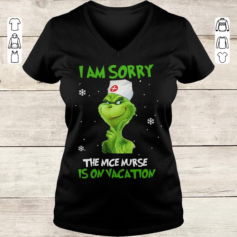Premium Grinch I am sorry The nice nurse is on vacation shirt Ladies V-Neck