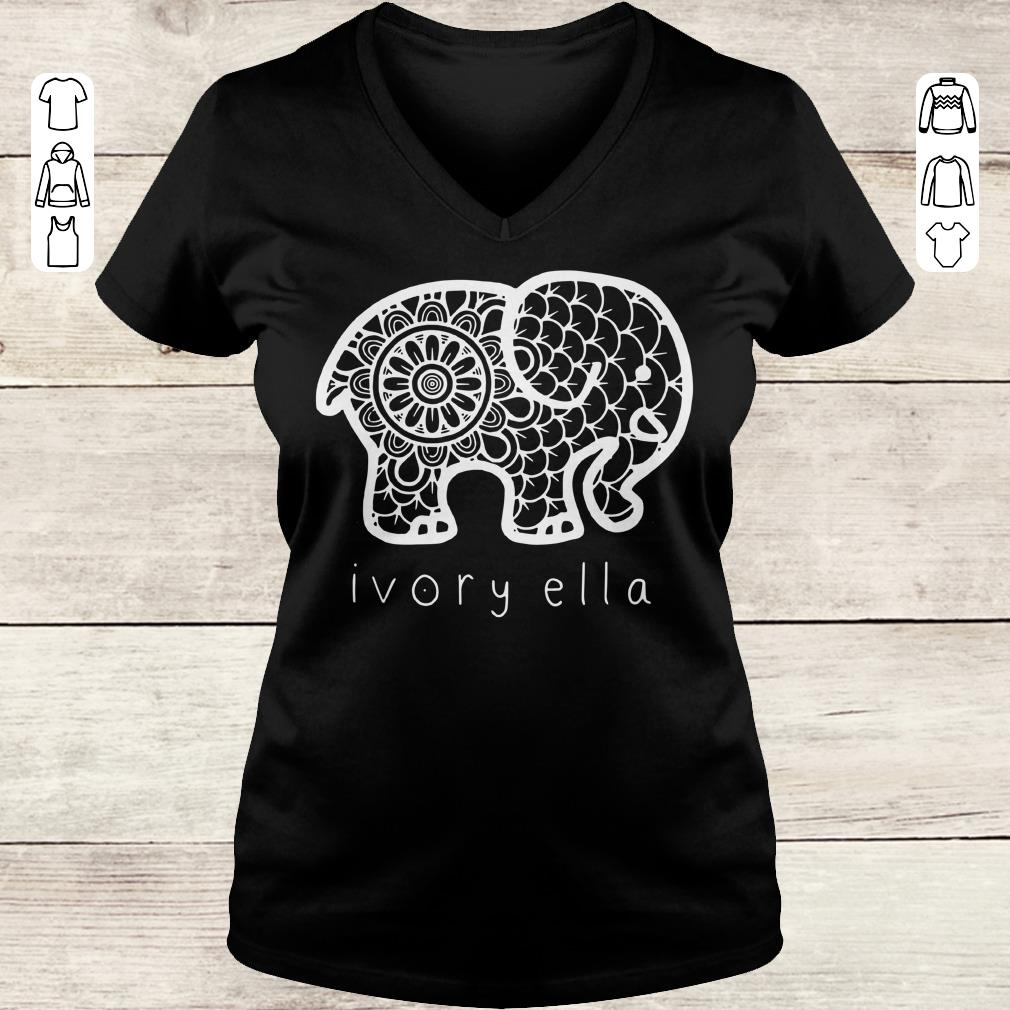 Premium Ivory ella elephant shirt Ladies V-Neck