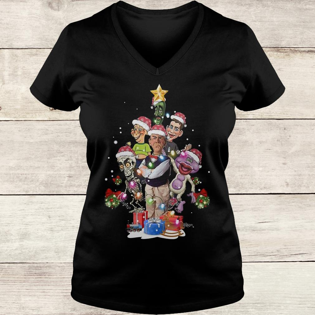 Premium Jeff Dunham Christmas Tree shirt Ladies V-Neck