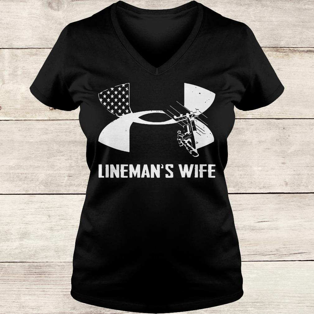 Premium Under Armour Lineman's Wife shirt Ladies V-Neck