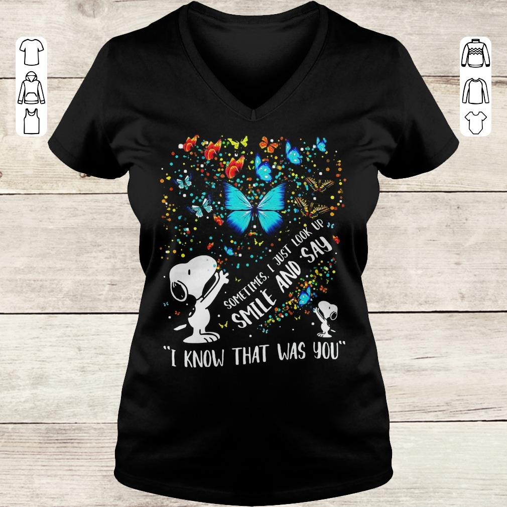 Pretty Snoopy butterfly Sometimes I Just look up smile and say I know that was you shirt Ladies V-Neck