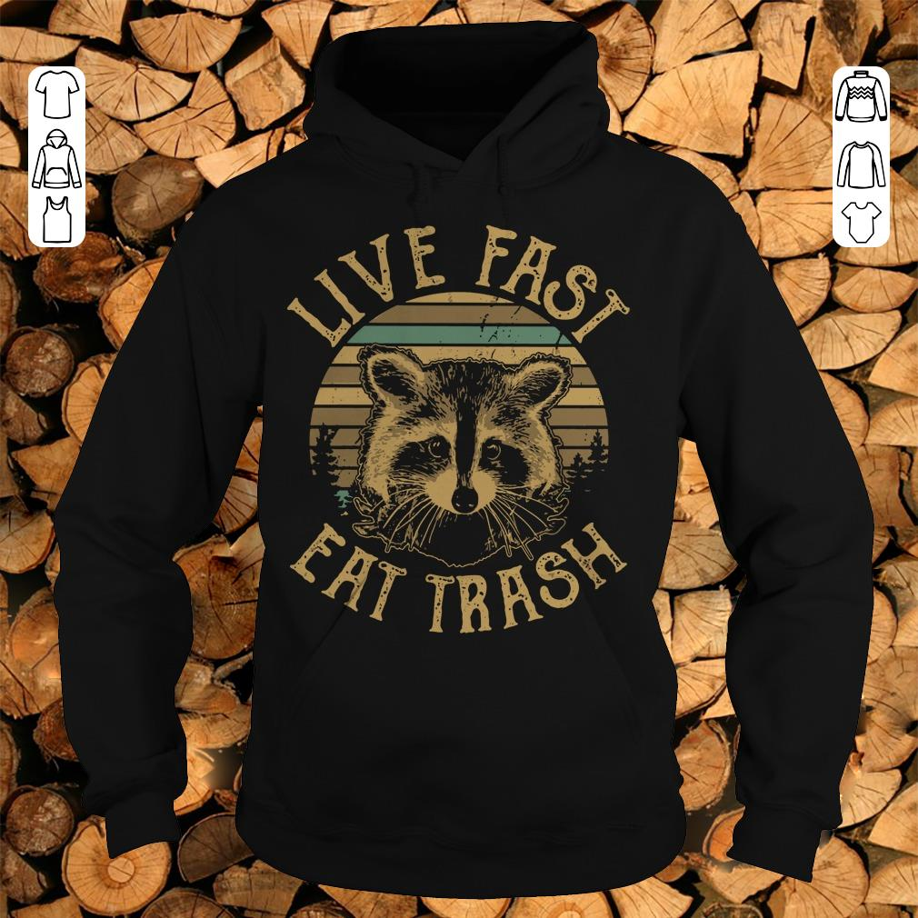 Funny Sunset Camping Live fast eat trash Raccoon shirt sweater Hoodie