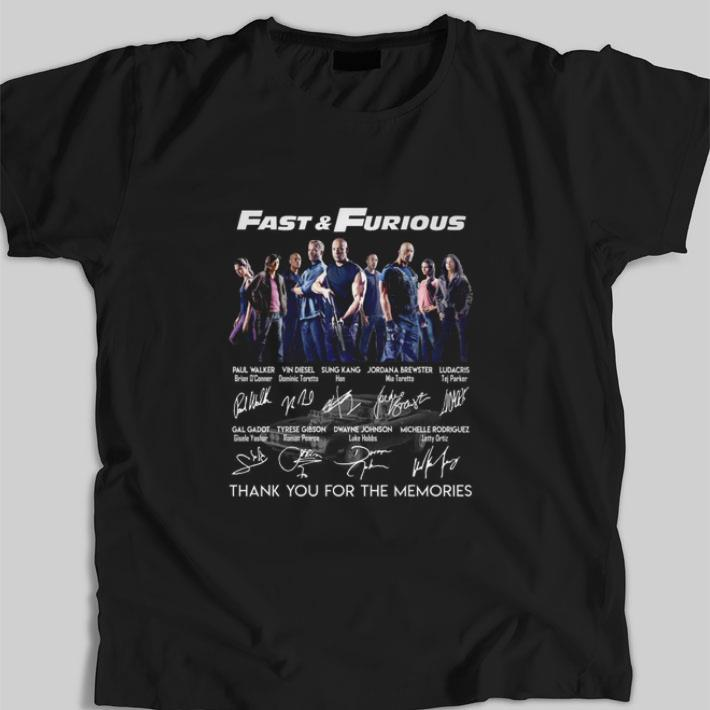 Nice Fast & Furious signatures thank you for the memories shirt