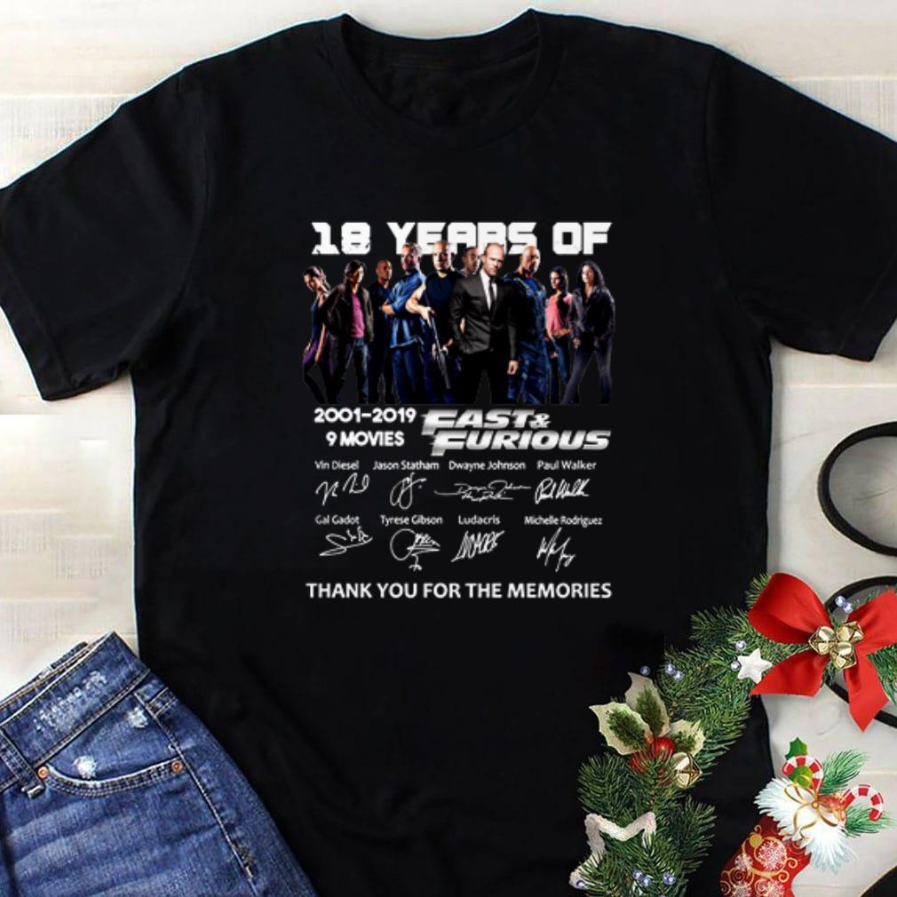 Original 18 year of Fast & Furious 2001-2019 9 movies signatures shirt