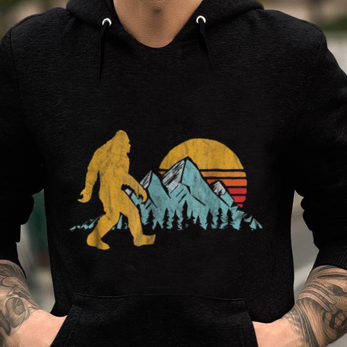 Retro Bigfoot Silhouette Pullover Hoodie Womens Long Sleeve Tops Hooded Sweatshirts
