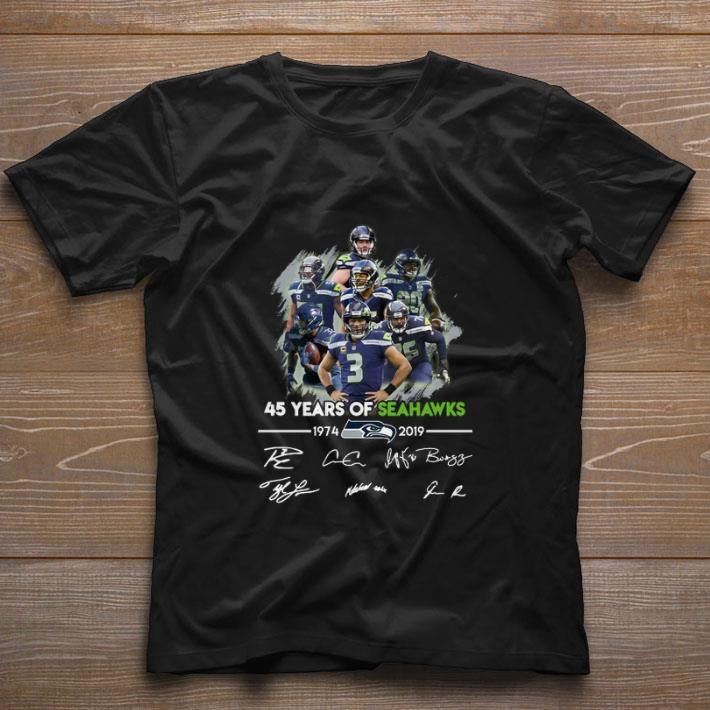 Original 45 years of Seattle Seahawks 1974-2019 signatures shirt