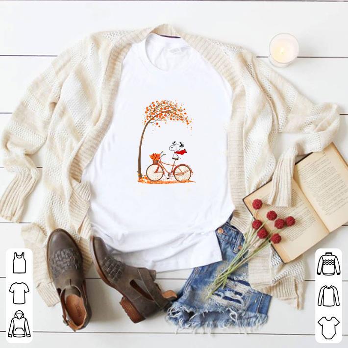 Original Snoopy riding bicycle autumn tree shirt