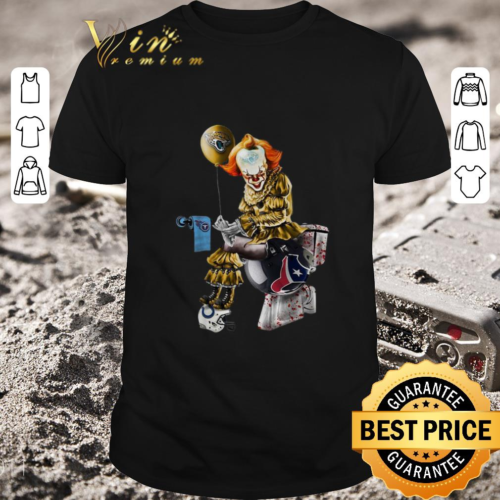 Awesome Pennywise Jaguars Tennessee Titans Houston Texans Toilet shirt