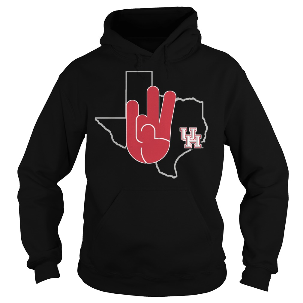 Houston Cougars U Of H Hand Sign In State Outline Hoodie