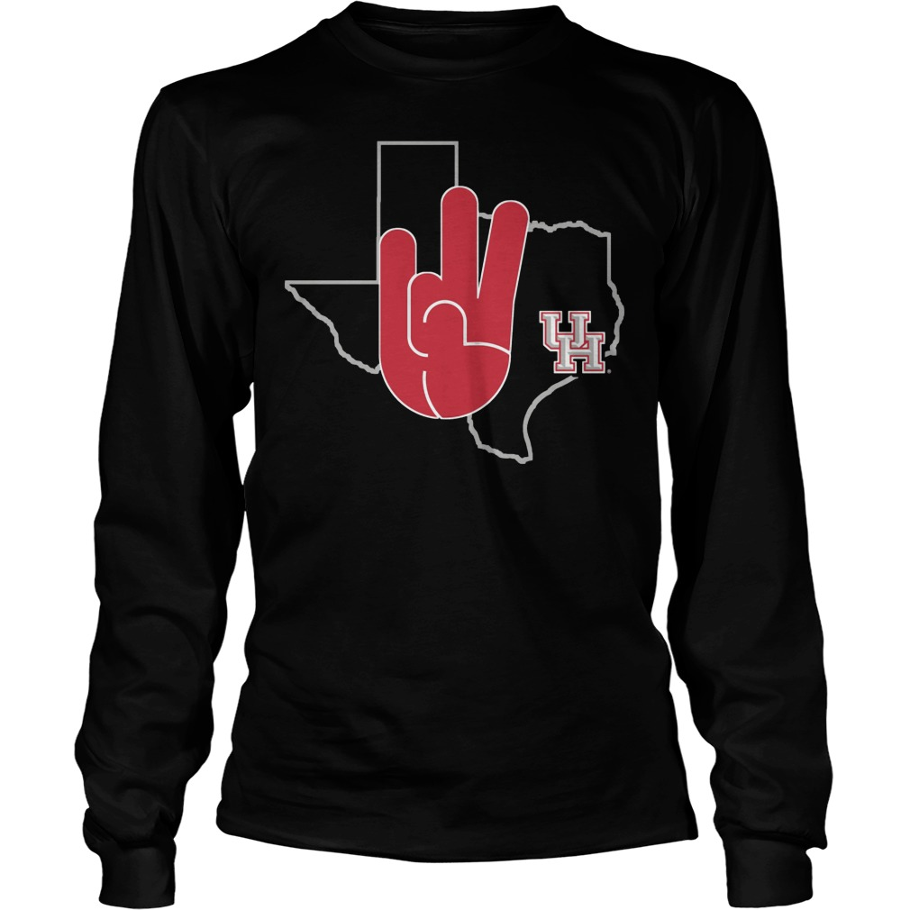 Houston Cougars U Of H Hand Sign In State Outline Longsleeve