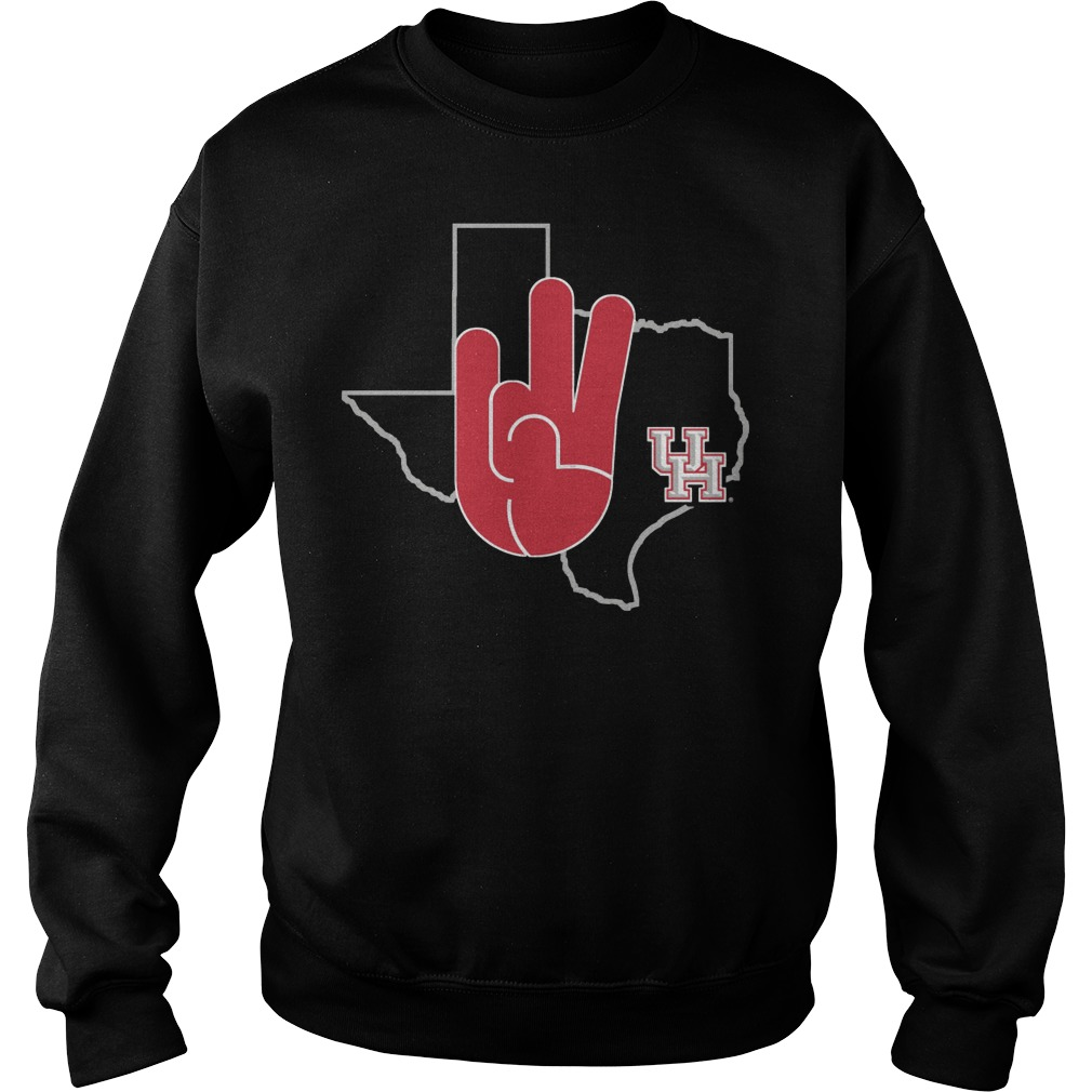 Houston Cougars U Of H Hand Sign In State Outline Sweater