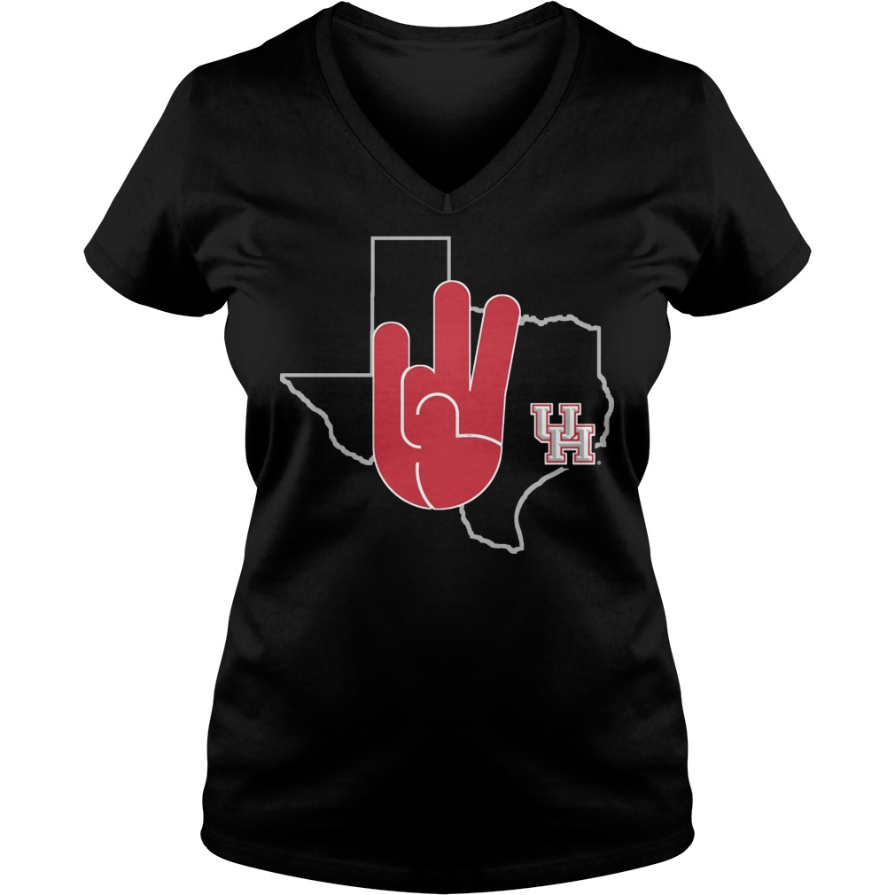 Houston Cougars U Of H Hand Sign In State Outline V Neck
