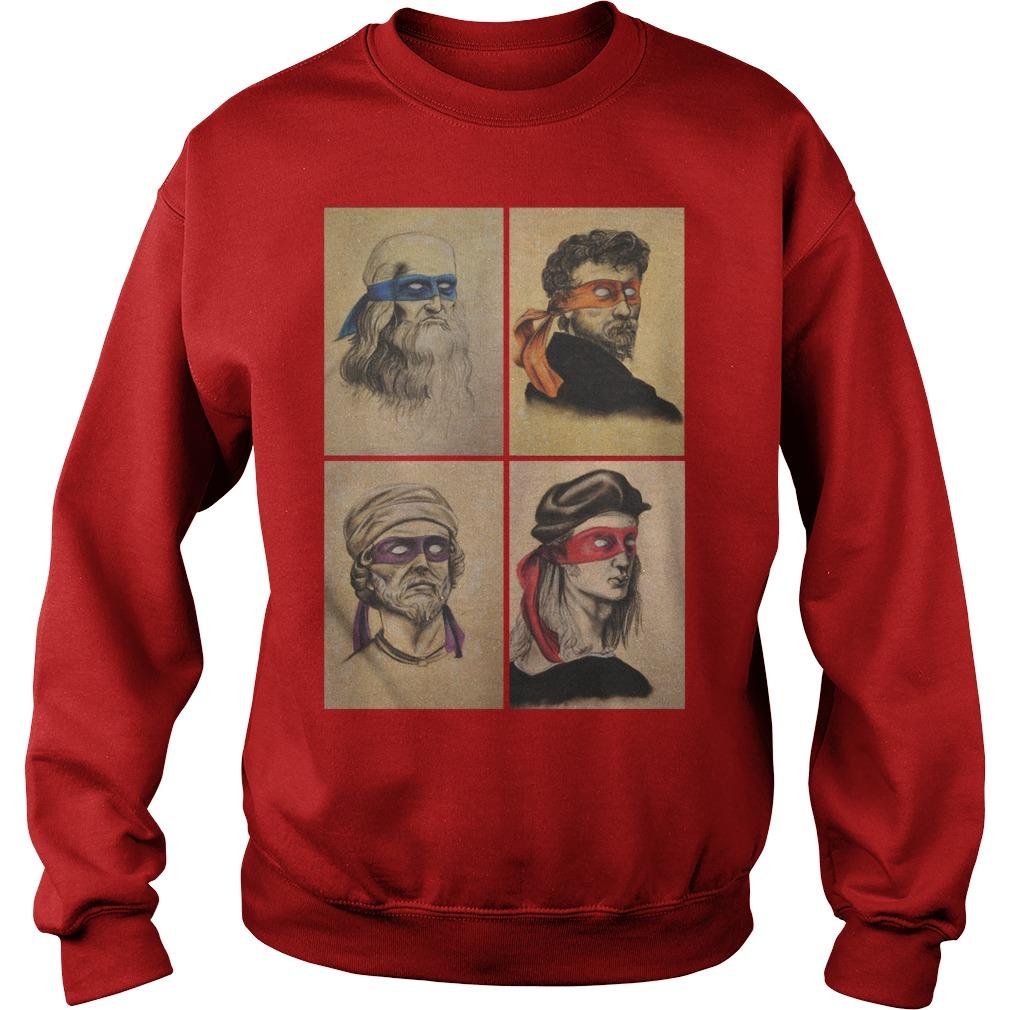 Renaissance Artists Ninja Turtles Donatello Raphael Leonardo And Michelangelo Sweater