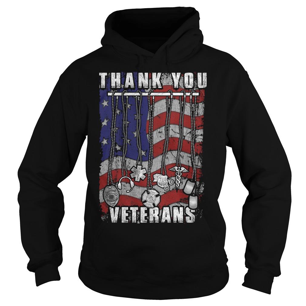 Thank You Veterans America Flag Hoodie