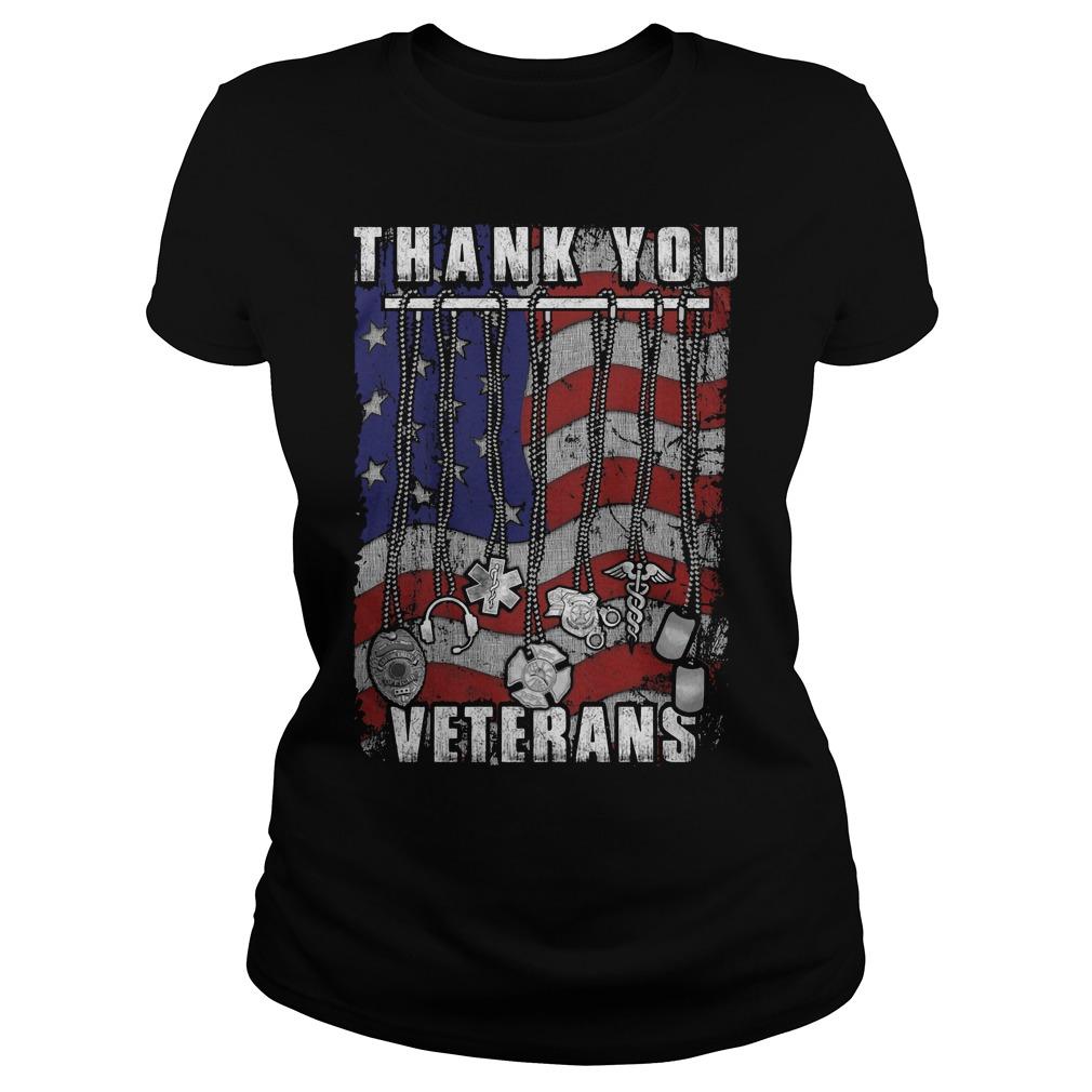 Thank You Veterans America Flag Ladies