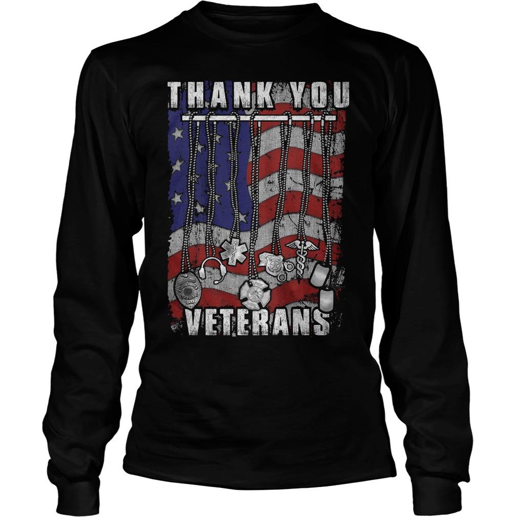 Thank You Veterans America Flag Longsleeve