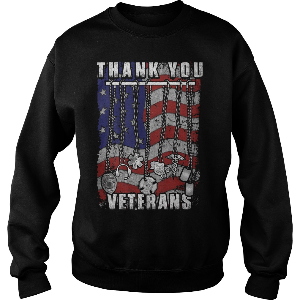 Thank You Veterans America Flag Sweater