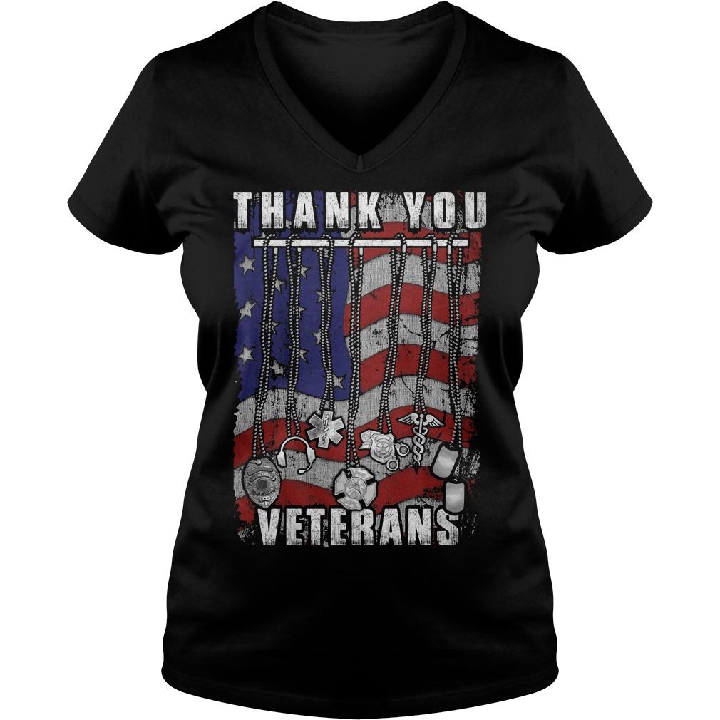 Thank You Veterans America Flag V Neck