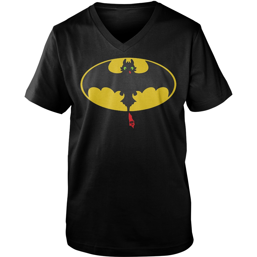 Toothless Batman How To Train Your Dragon Mashup T-Shirt Guys V-Neck