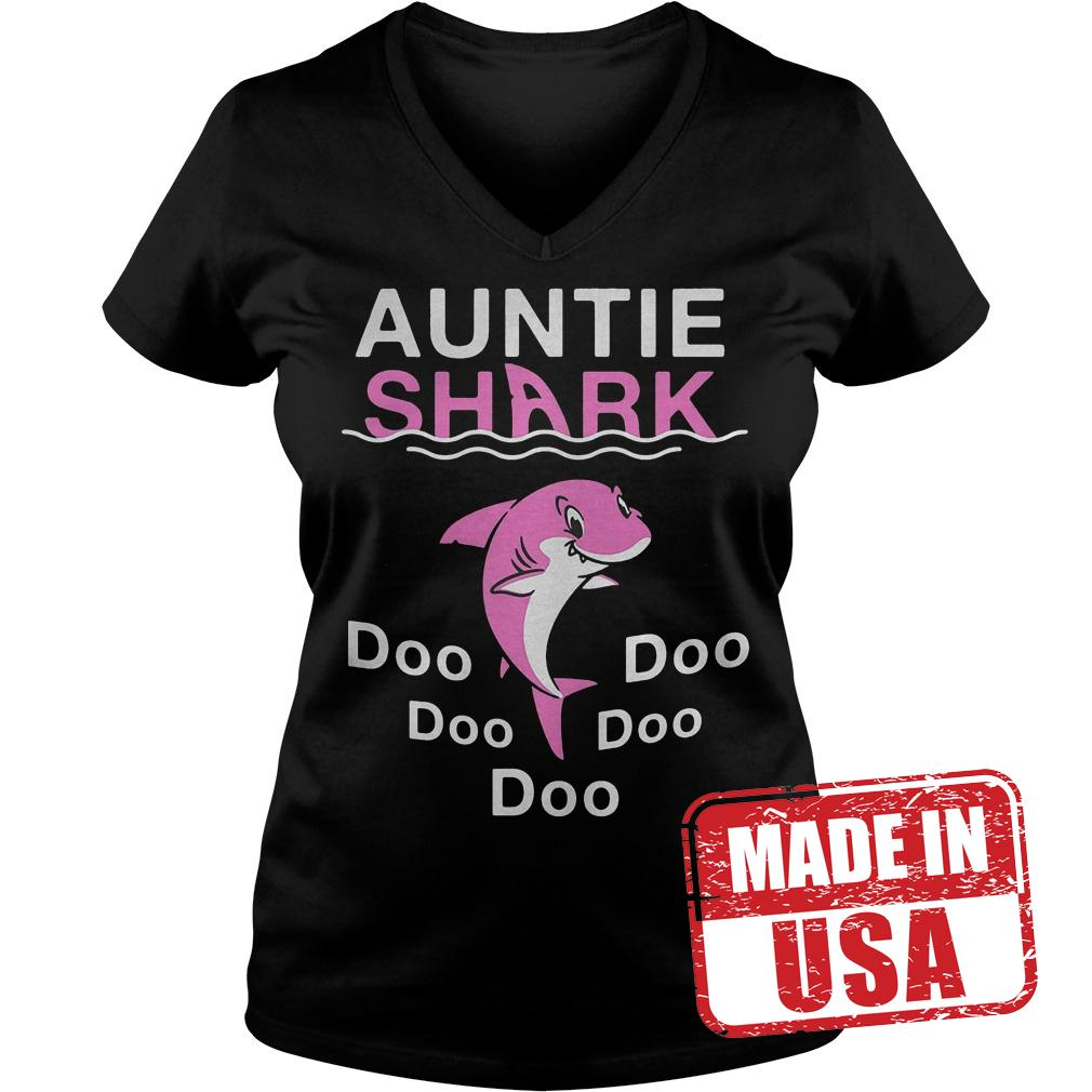 Best Price Pink Shark Auntie Shark shirt Ladies V-Neck