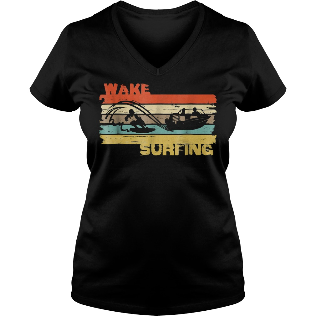 Best Price Wakesurfing Vintage T-Shirt Ladies V-Neck
