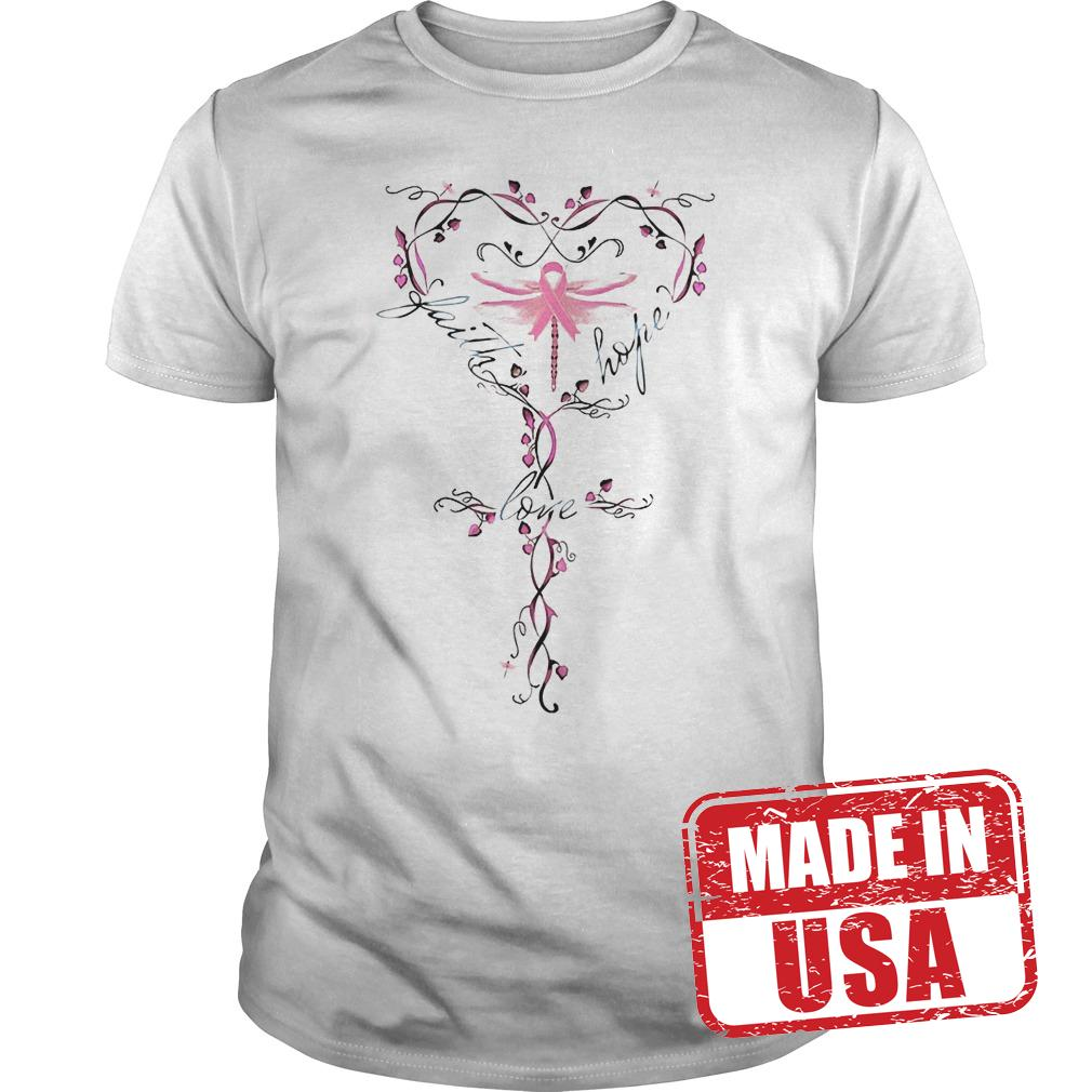 Official Breast Cancer Dragon Fly Faith Hope Love Shirt
