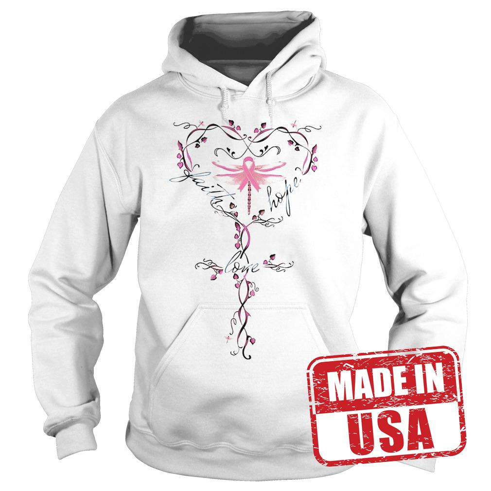 Official Breast Cancer dragon fly faith hope love shirt Hoodie