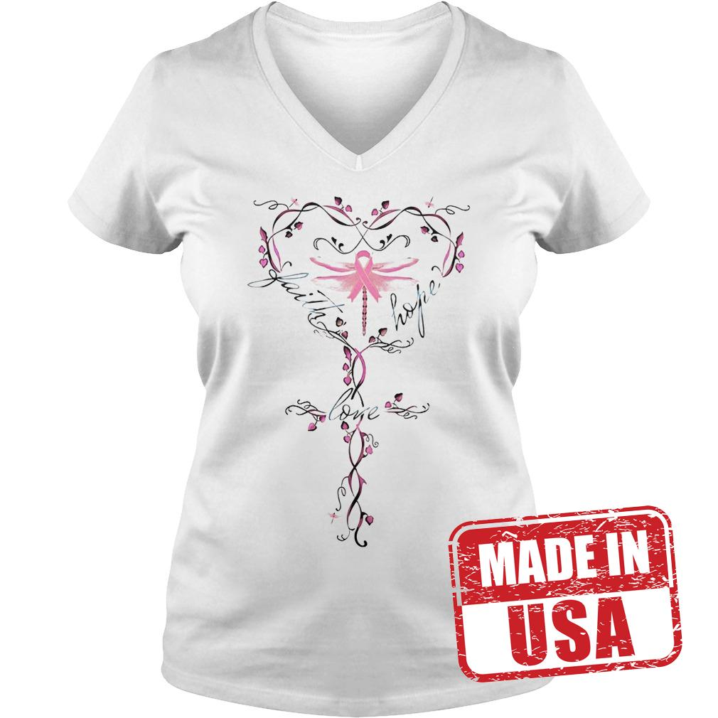 Official Breast Cancer dragon fly faith hope love shirt Ladies V-Neck
