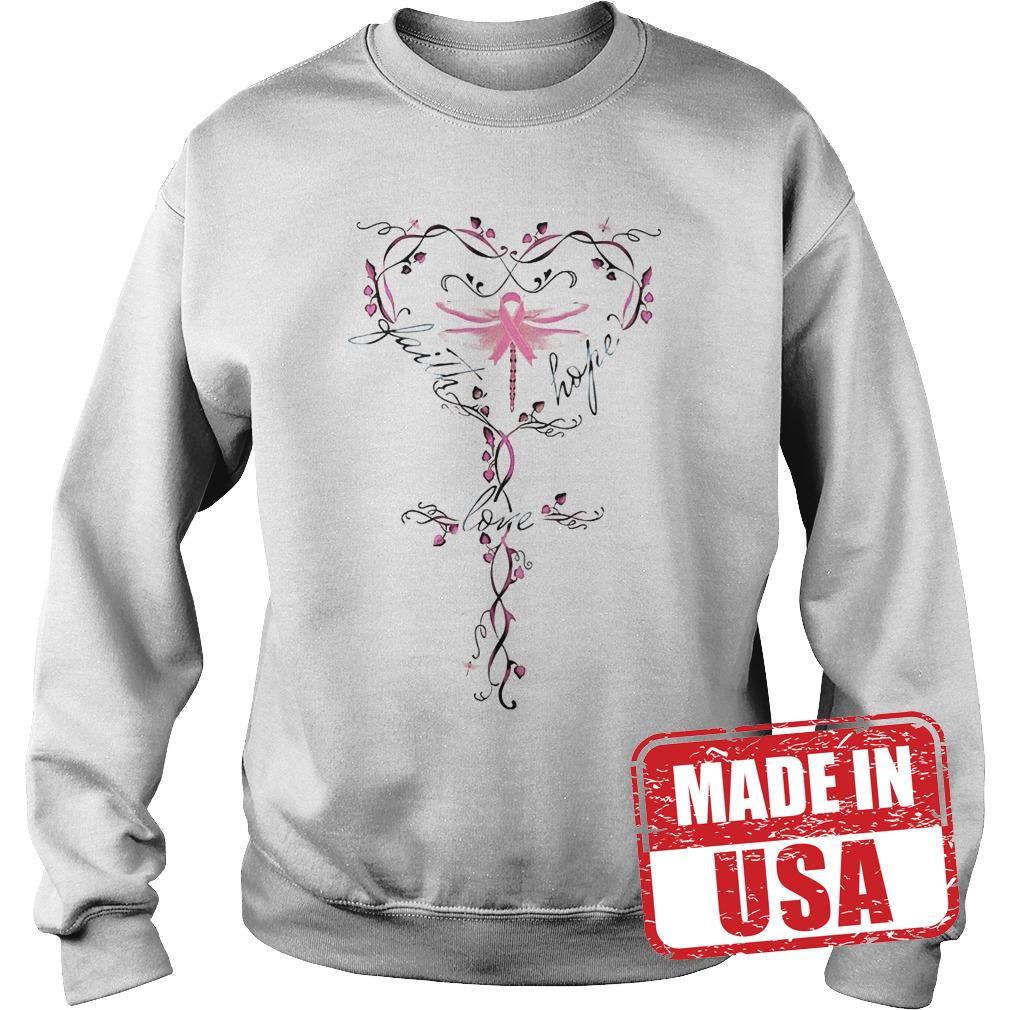 Official Breast Cancer dragon fly faith hope love shirt Sweatshirt Unisex