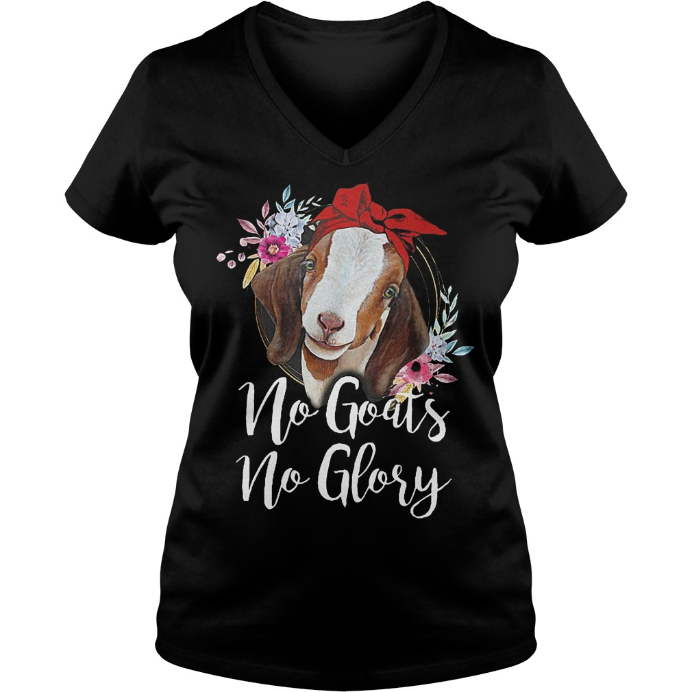 Official Hippie watercolor No goats no glory shirt Ladies V-Neck