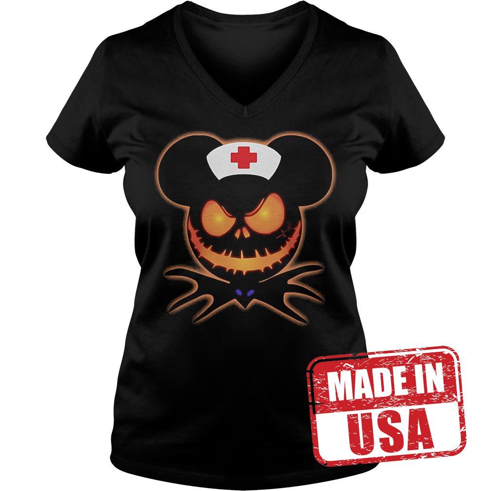 Official Mickey Nurse Pumpkin Jack Skellington shirt Ladies V-Neck