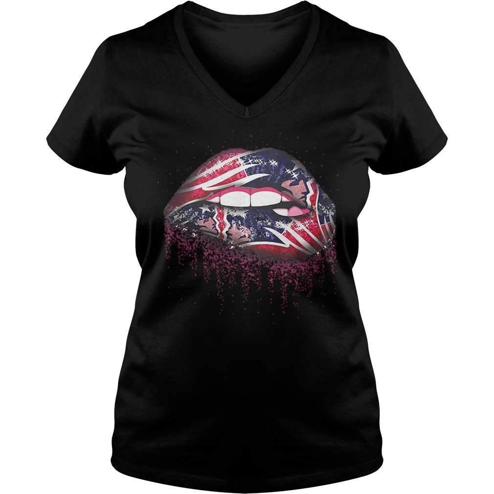 Official New England Patriots Sweat Lips shirt Ladies V-Neck