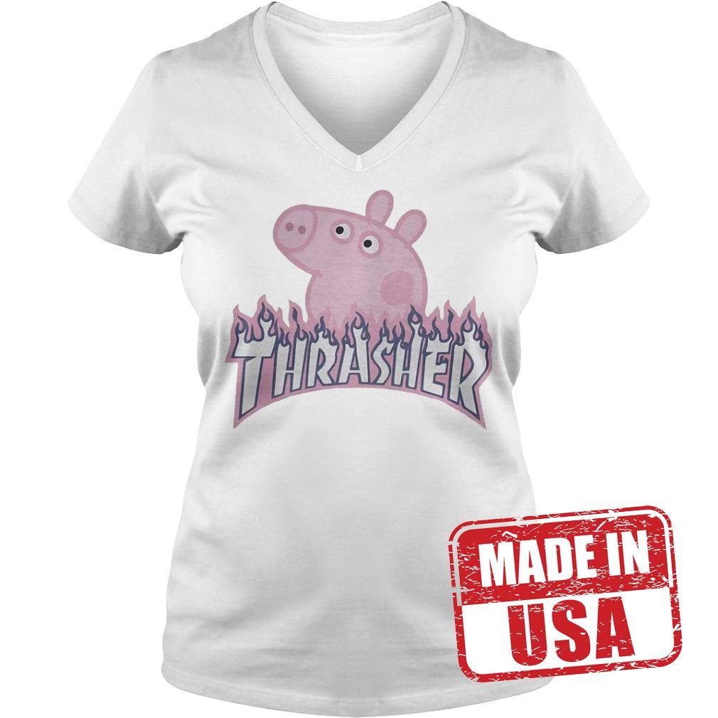 Official Thrasher Peppa Pig Shirt Ladies V-Neck