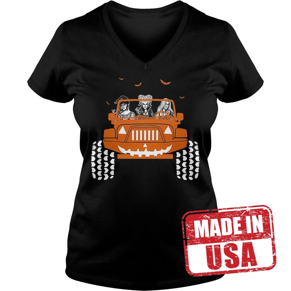 Premium Jeep Halloween Hocus pocus shirt Ladies V-Neck