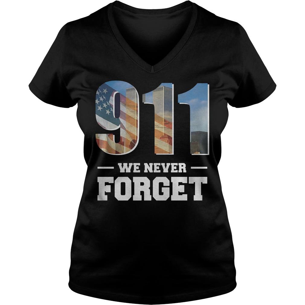 911 We Never Forget Shirt Ladies V-Neck