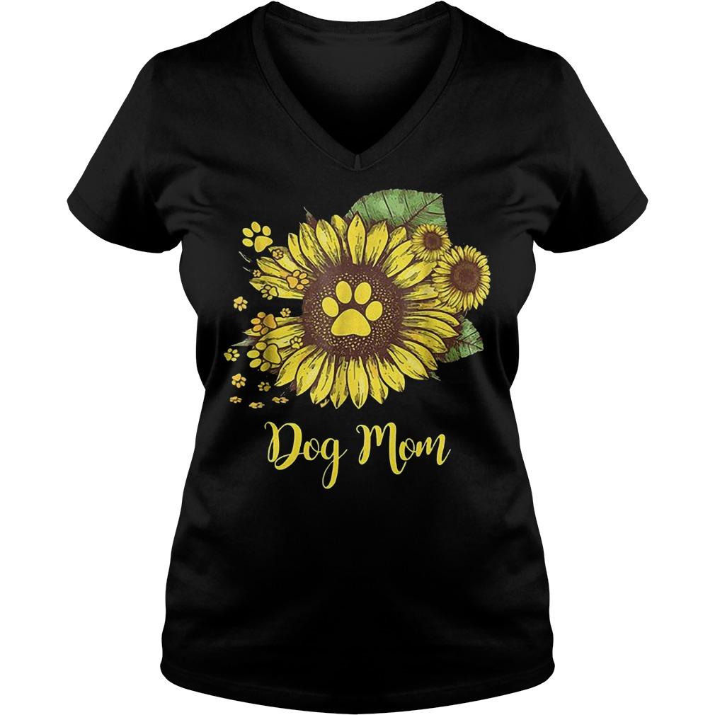 Dog mom sunflower shirt Ladies V-Neck