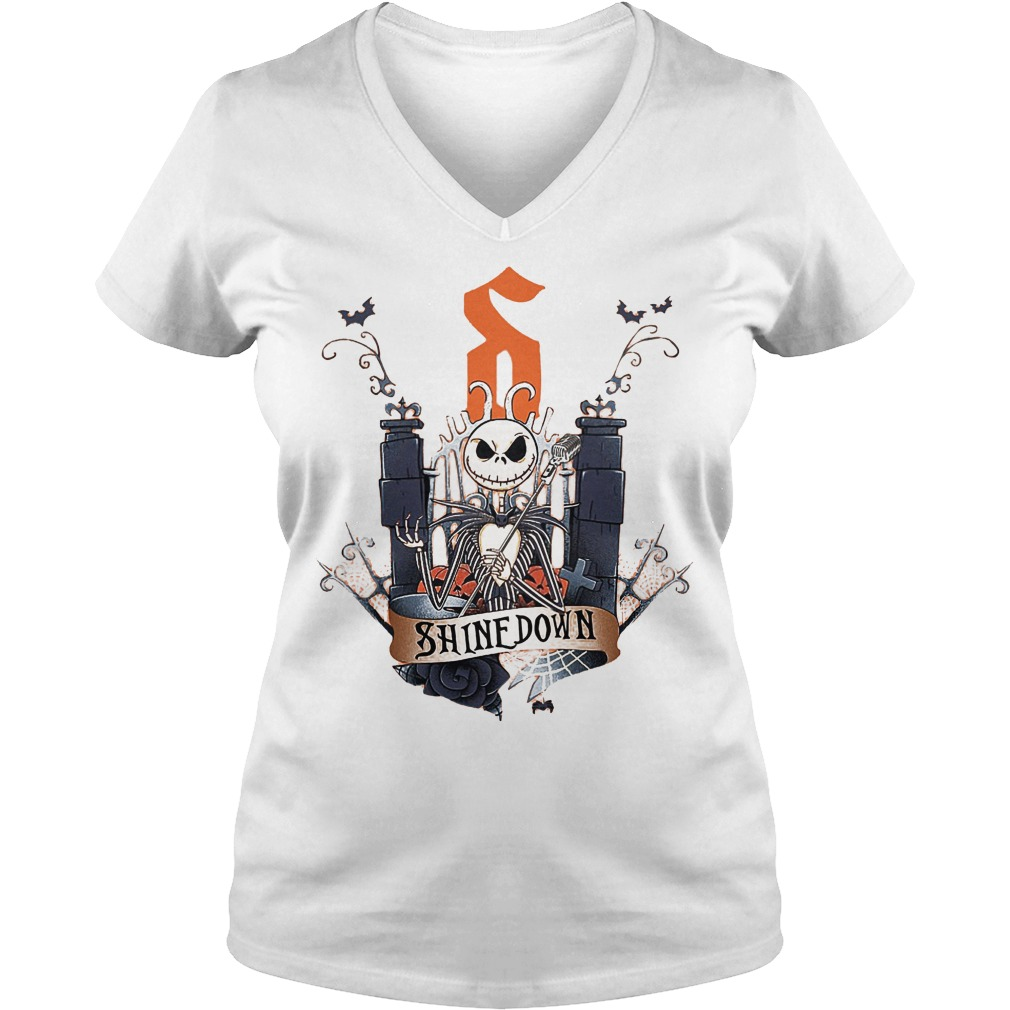 Jack Skellington Shine Down shirt Ladies V-Neck